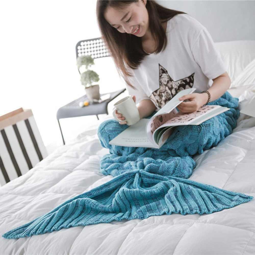 Вязаное одеяло «хвост русалки» ручной работы для взрослых/детей, вязанное крючком, конфетный цвет, рыбий плед, покрывало для ног, спальный мешок