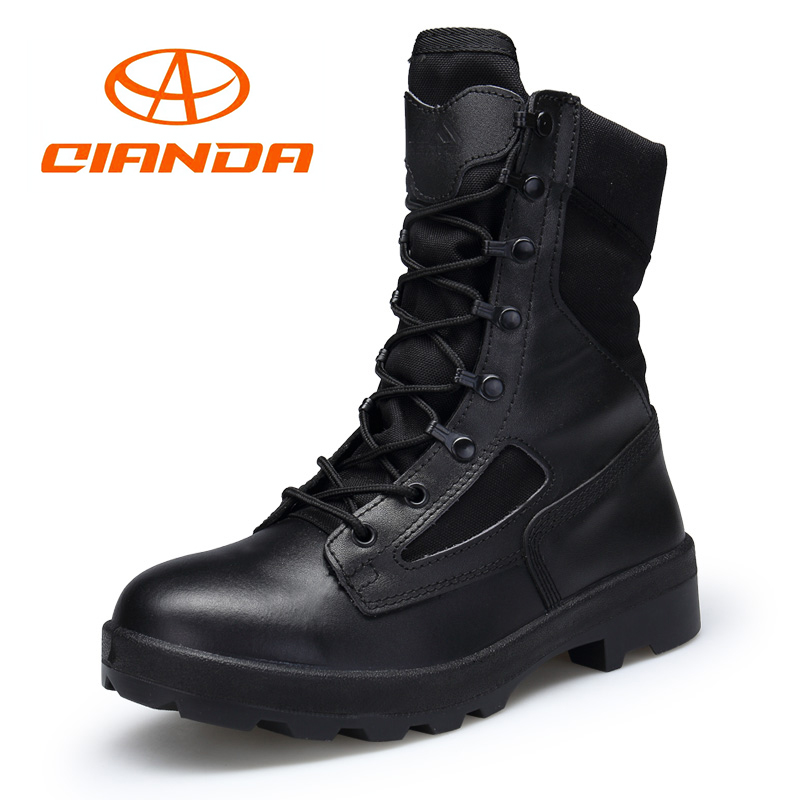 QIANDA Man Military Tactical Boots Outdoor Male Mountain Climbing Shoes Genuine Leather Trekking Hunting Boots Men Hiking Shoes 2018 climbing boots for men brown man hiking shoes rubber bottom tactical boots male anti slip lace up man mountain shoes