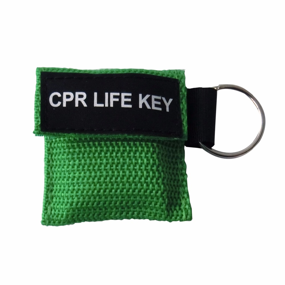 100Pcs/Pack CPR Resuscitator Keychain Mask Key Ring Emergency Rescue Face Shield Green new 10pcs pack big first aid cpr rescue face shield mask portable face shield oxygen inlet resuscitator