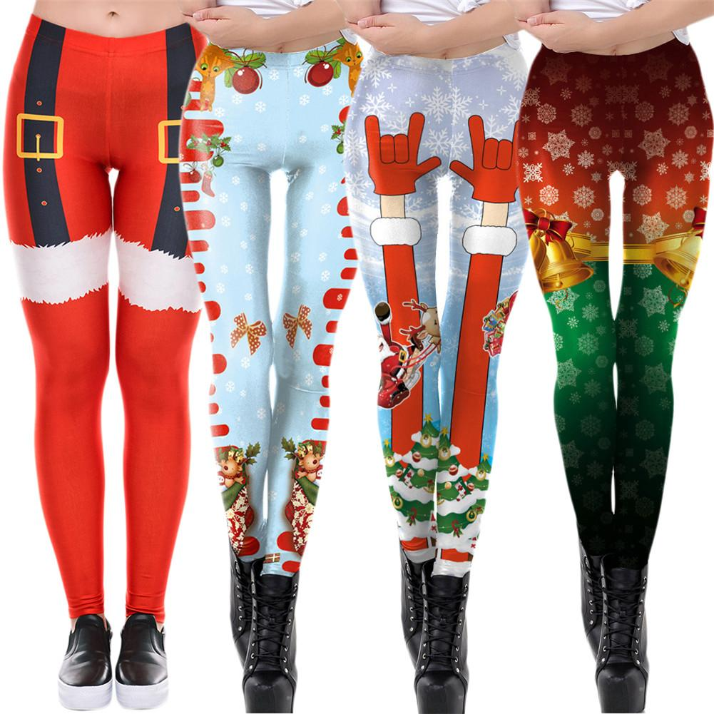 2018 New Christmas Yoga Pants Digital Print Yoga Fitness Slim Leggings Sports Pants Tight High Elastic Hip Running Sports Pants ingersoll i01002