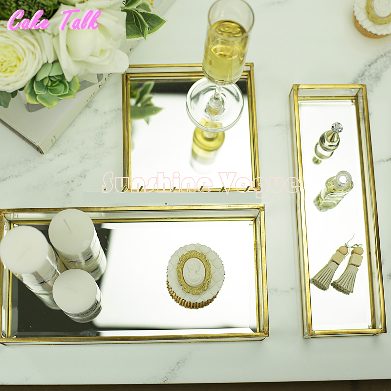 Vintage brass glass cake tray mirror glass for perfume display candy bar decoration cupcake box Cosmetics