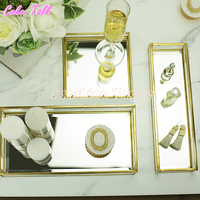 Vintange Brass Glass Cake Tray Mirror Glass For Perfume Display Candy Bar Decoration Cupcake Box Cosmetics