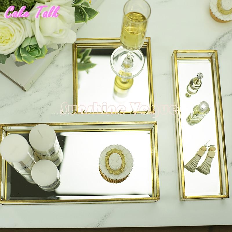 ヴィンテージ真鍮ガラスケーキトレイミラーガラス用香水ディスプレイキャンディバー装飾カップケーキボックス化粧品ケース  グループ上の ホーム&ガーデン からの スタンド の中 1