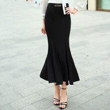 Высокое качество Для женщин Юбки для женщин черный Трубы ретро тонкий Лонг Женственный элегантные весенние Офисные женские туфли формального 50 s пояса юбки