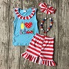 Back To School Otufits Girl Shorts Striped Pencil Heart Clothing Shorts Summer Girl Boutique Shorts With