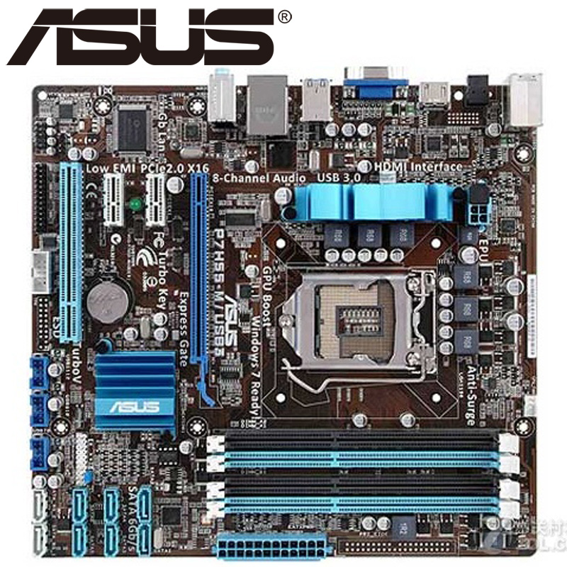 Asus P7H55-M/USB3 Desktop Motherboard H55 Socket LGA 1156 i3 i5 i7 DDR3 16G ATX UEFI BIOS Original Used Mainboard Hot Sale asus p5ql cm desktop motherboard g43 socket lga 775 q8200 q8300 ddr2 8g u atx uefi bios original used mainboard on sale