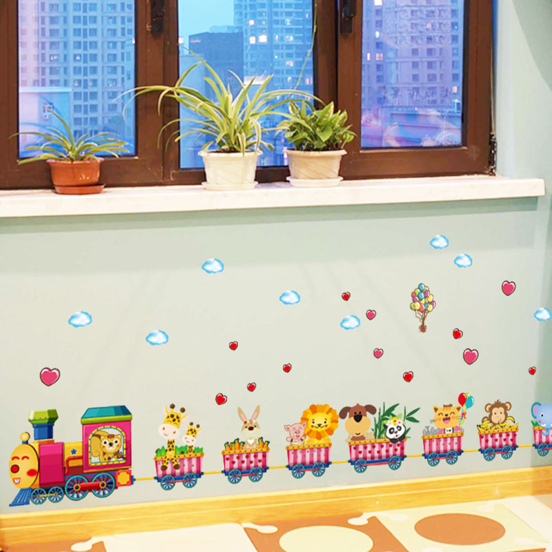 [ZOOYOO] cartoon animal train wall stickers for kids rooms nursery baby children bedroom home decoration art decals