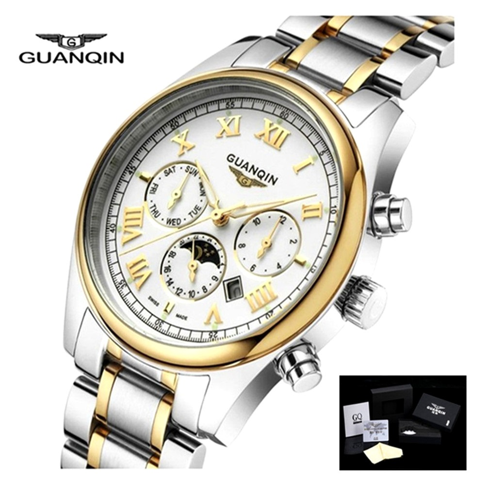 GUANQIN Mens Watch Top Brand Luxury Steel Watch Men Quartz Moon Phase Wristwatch Analog Waterproof Watches