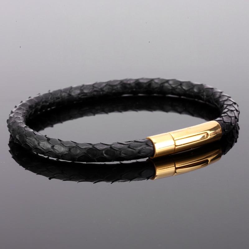 Men Bracelet Luxury 6mm Genuine Python Snake Skin with 361L Stainless Steel Buckle Bracelets Custom Name Logo Leather Bangles