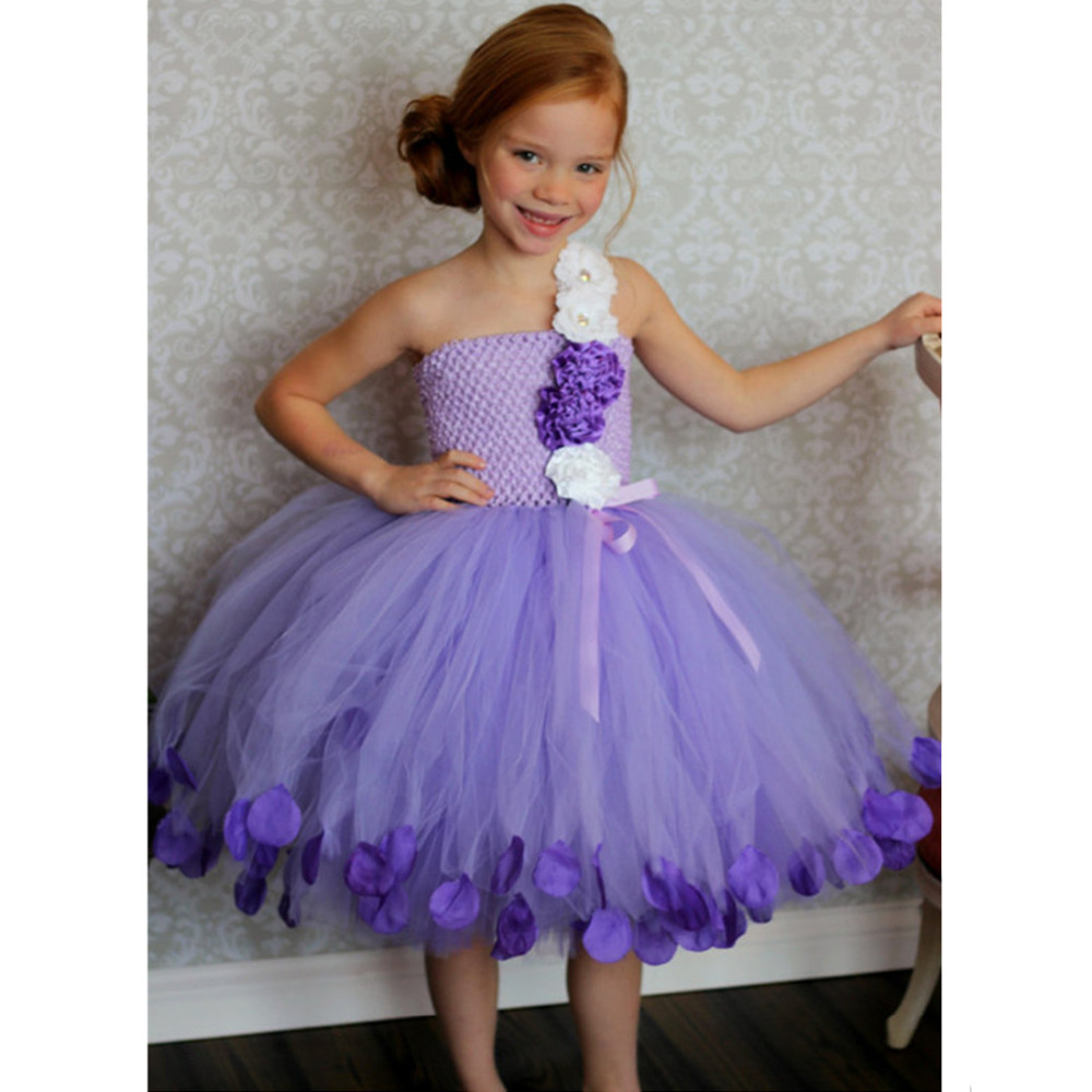 Bridesmaid Fluffy Ball Gown Princess Birthday purple Tutu Tulle Baby Flower Girl Wedding Dress Evening Prom Cloth Party Dresses lilac tulle open back flower girl dresses with white lace and bow silver sequins kid tutu dress baby birthday party prom gown