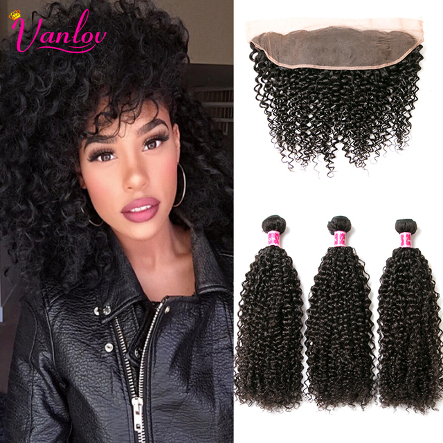 Peruvian Kinky Curly Virgin Hair With Closure Afro Kinky Curly Hair Frontal With 3 Bundles Brown Peruvian Curly Weave Human hair