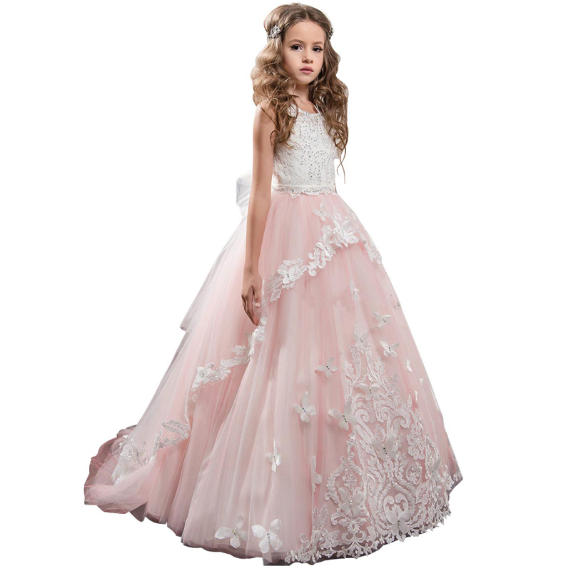 fancy little girls butterfly dress long vestido first communion dress kids ball gown with bow pink flower girls tulle dresses fancy pink little girls dress long flower girl dress kids ball gown with sash first communion dresses for girls