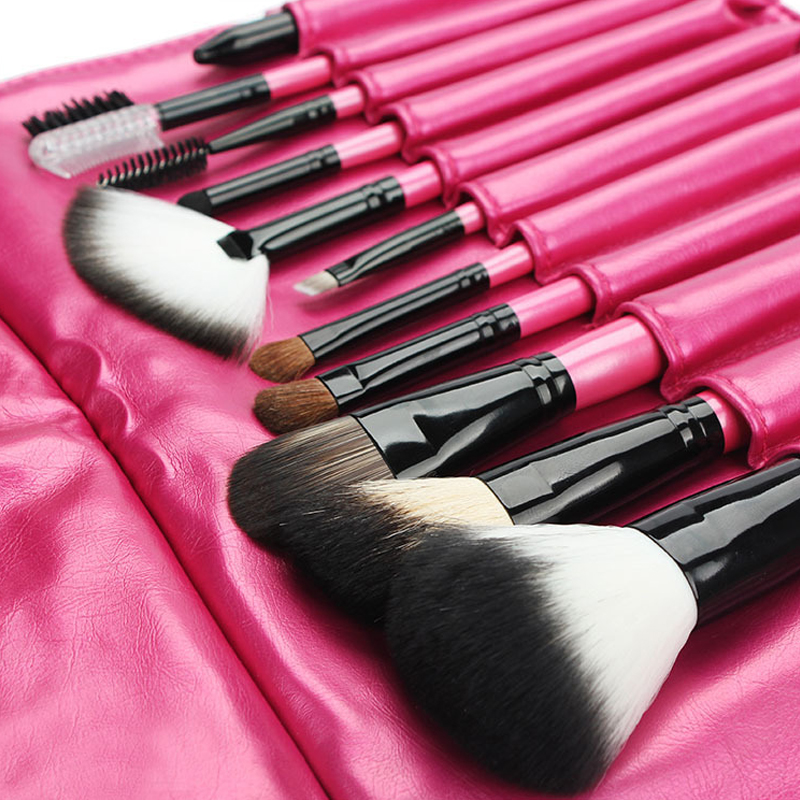 11pcs/1set Wool Fiber Wood Makeup Brushes Sets & Kits With Pink Cosmetic Bag Powder High Quality Eye Shadow Brushes Beauty professional cosmetic makeup brushes in a pink pu bag