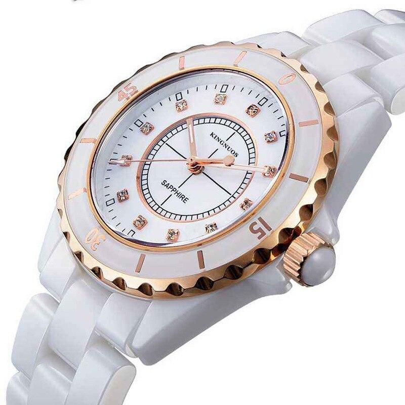 Женщины Кварцевые Часы Водонепроницаемые Белые Керамические Часы Люксовый Бренд Платье Наручные Часы Часы для Женщин Relógio Feminino