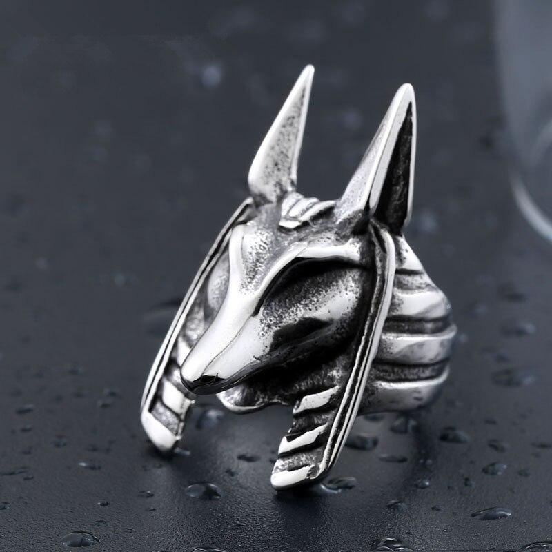DoreenBeads Egypt Myth God Anubis Ring Men Stainless Steel Punk Jewelry Fashion Vintage Animal Man Top Quality Titanium Rings