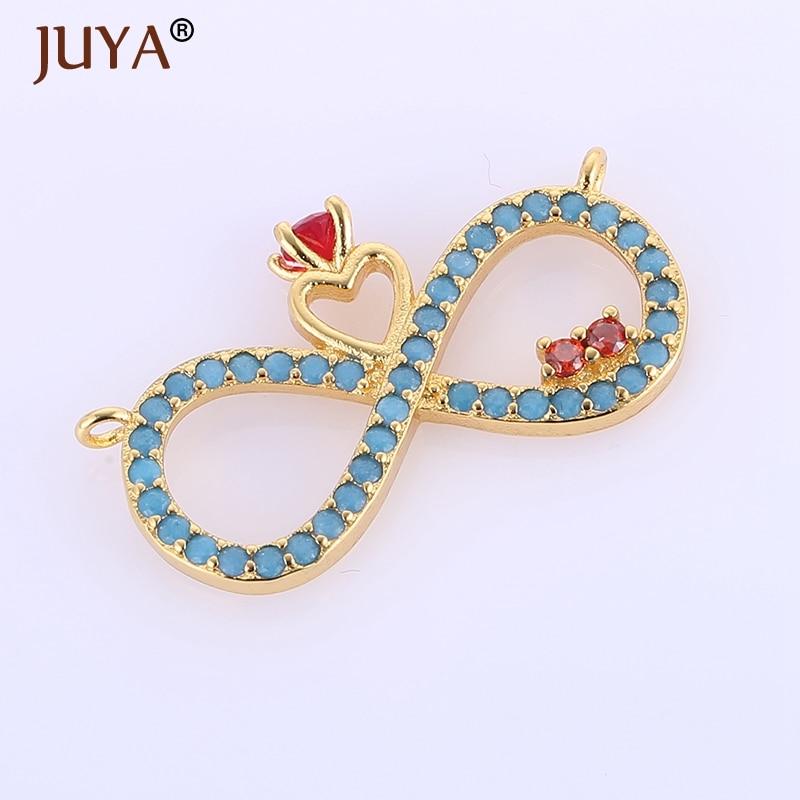 fashion vintage blue rhinestone infinity heart pendants jewelry making diy women necklaces jewellery accessories findings