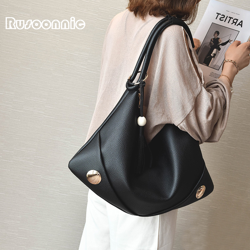 Rusoonnic Bolsos Mujer Hobos Casual Tote Bag Crossbody Bags For Women Tassel Handbag Ladies Leather Shoulder Bags sac a main xiyuan brand women handbags ladies shoulder bag new fashion sac a main femme de marque casual bolsos mujer handbag for mom totes