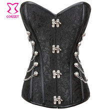 Corzzet Black Brocade Steel Boned Overbust Corsets And Bustiers Waist Slimming Shaper Body Plus Size Gothic Steampunk Corset