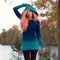 Fashion Women Print Slim Hoodies Sweatshirts Gradient Color Pullovers Bottoming Long Sleeve Hoodie Casual Tops