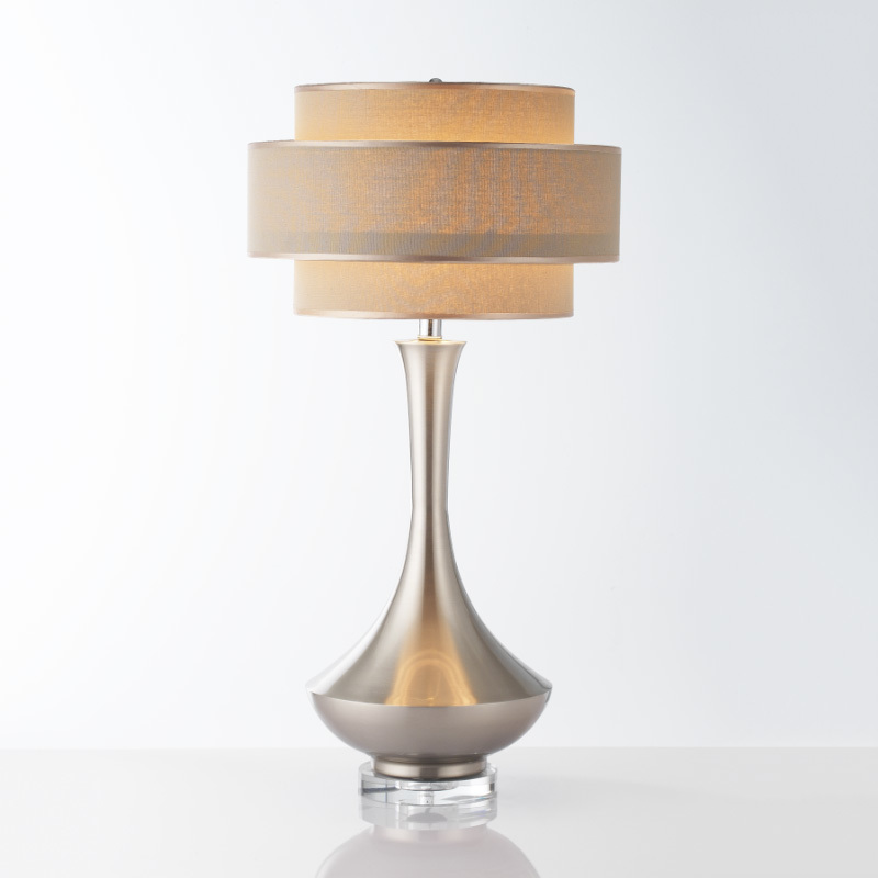 Living Room Lamp Shades: Simple Metal White Table Lamps Electroplating Living Room