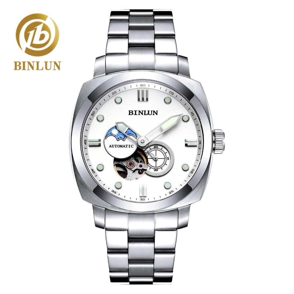 BINLUN Skeleton Luminous Dial Automatic Mens Watch Scratch-proof Sapphire Waterproof Sports Watch Durable Mens Military WatchBINLUN Skeleton Luminous Dial Automatic Mens Watch Scratch-proof Sapphire Waterproof Sports Watch Durable Mens Military Watch