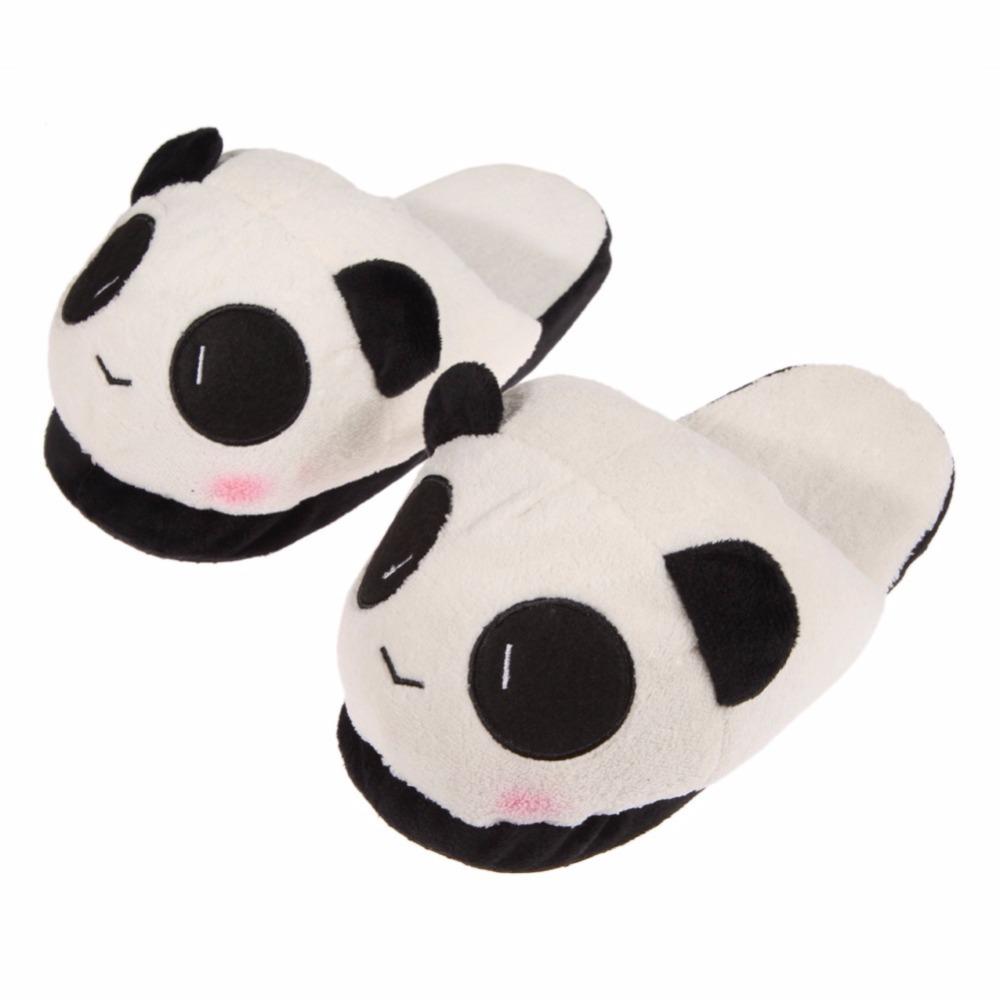 0ca6d8abe Winter Cute Panda Eyes Women Cute Slippers Lovely Cartoon Indoor Home Soft  Shoes Women Soft Panda Warm Plush Antiskid