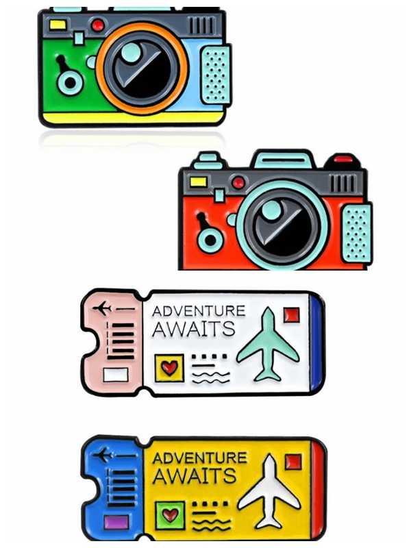 WEISHUOLI かわいい金属飛行機チケット漫画カメラエナメルピンブローチジュエリーデザインのアクセサリージュエリーの女性