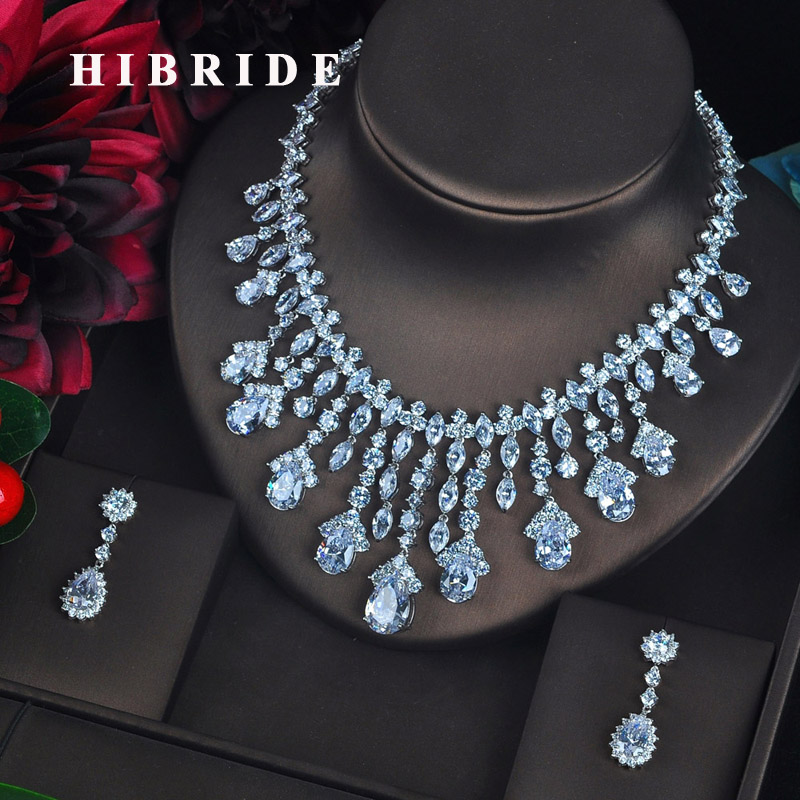 HIBRIDE Clear Big Water Drop Pendant Women Jewelry Sets Bride Full Cubic Zircon Necklace Set Fashion
