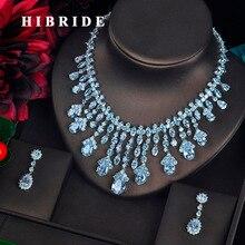 Hibrid Прозрачный большой кулон в виде капли воды для женщин, ювелирные наборы для невесты, полный кубический циркон, ожерелье, набор, модные роскошные ювелирные изделия N-618
