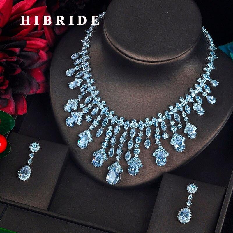 HIBRIDE ясно большой капли воды кулон Для женщин Ювелирные наборы невесты полный кубический циркон Цепочки и ожерелья комплект модные роскошн...