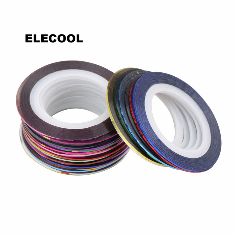 ELECOOL Mix Color Roll Ribbon Striping Tape Line Nail Art Decoration Stickers Decals Tips DIY Nail Art Tool 1 roll 10m clear nail double side nail adhesive tape strips tips transparent manicure nail art tool