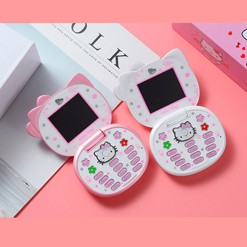 Image 4 - K688+ Cute Mini Hello Kitty Girl Phone Quad Band Flip Cartoon Mobile Phone Unlocked Kids Children mini cheap Cell Phone H mobile-in Cellphones from Cellphones & Telecommunications