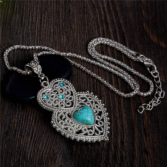 Bohemian Style Womens Jewelry Charming Heart Pendant Pretty Natural Stone Necklace Nice Shipping