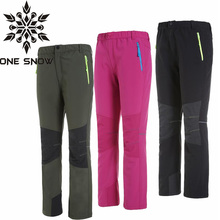 ONE SNOW New Winter Outdoor Brand Kids Boys Girls Softshell Hiking Pants Children Waterproof Thermal Trousers Skiing Camping