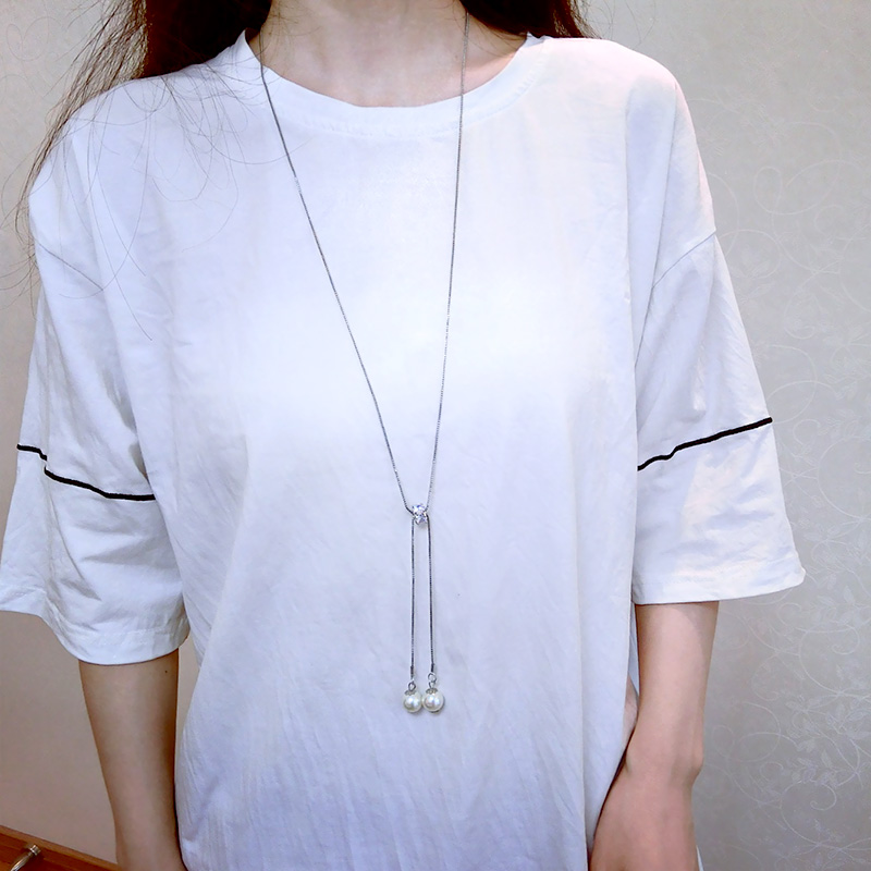 Simple Geometric Rhinestone Choker New Fashion Pearl tassel Long Pendant Temperament Swe ...
