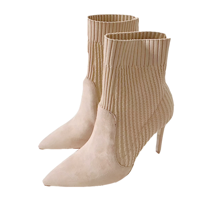 Sexy Women High Heels Stretch Fabric Sock Boots Knitted Ankle Boots Winter Sexy Genuine Leather Pointed Toe Stiletto Shoes Botas