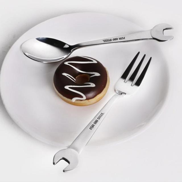 1 шт творческий ключ фигурные кухонные аксессуары дома Кухня Нержавеющаясталь вилка ложка подарок фрукты Dessrt салат вилки столовые приборы A45