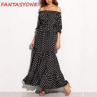 FANTASYONE 2017 Off Shoulder Women Maxi Dress Chiffon Ruffles Summer Long Beach Dress Loose Casual Brand