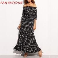 FANTASYONE 2017 Off Shoulder Women Maxi Dress Chiffon Ruffles Summer Long Beach Dress Loose Casual Brand