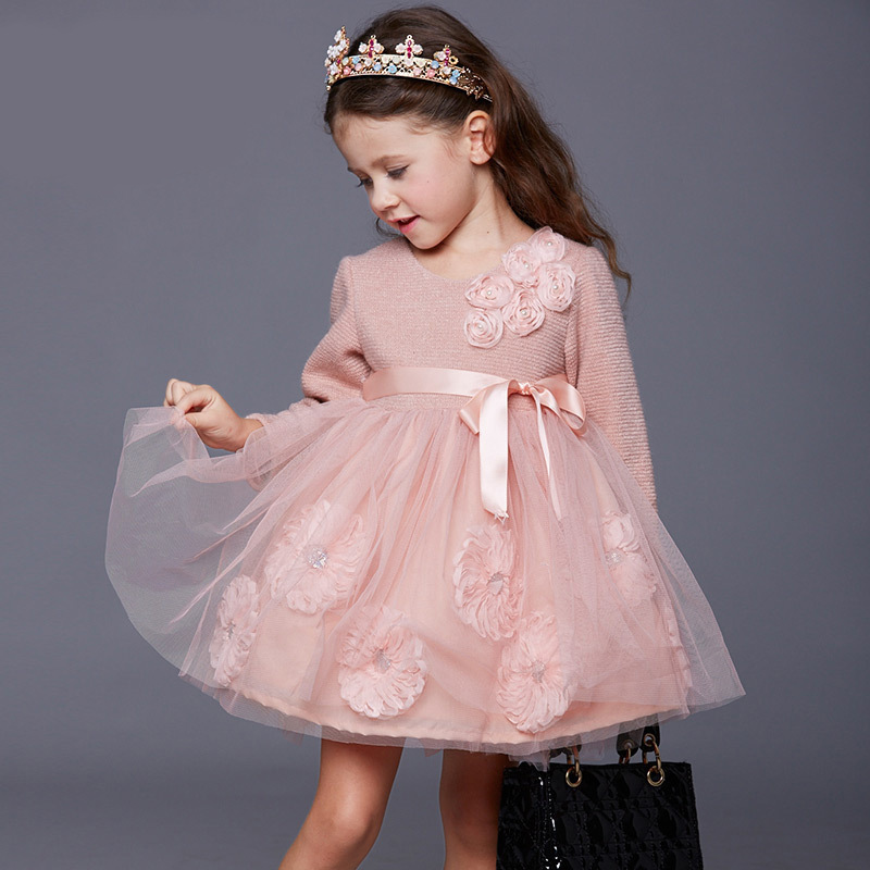 ФОТО New Spring Autumn girls formal pink Princess dress bow lace floral sequin dresses long sleeve dress for evening party costumes