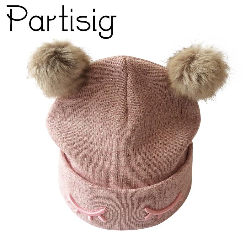 Partisig Značka Baby Hat Háčkování Double Pompom Hat pro dívky - Oblečení pro miminka