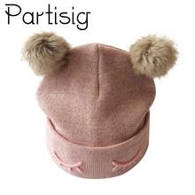 Partisig ապրանքանիշի Baby Hat Crochet Double Pompom Hat- ի համար Տրիկոտաժե մանկական աղջիկների գլխարկ Pompom- ով