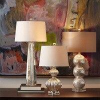Moden Art Deco Table Lamp Bedside Table Lamp for Bedroom Living Room Creative Striped Silver Art Texture Glass Desk Desktop Lamp