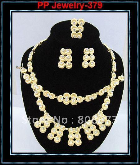 Fancy 24K Gold Tone Clear Rhinestone Top Quality African Lace Costume Jewelry Sets