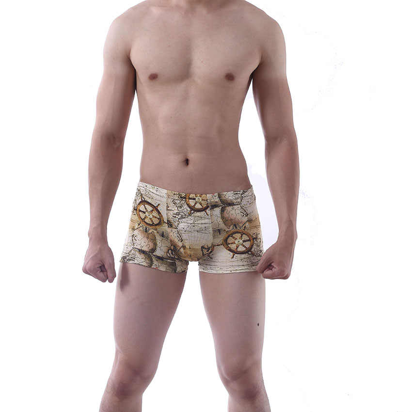 WTEMPO Marka 4 Adet çok Boxer Erkekler için/Erkekler Haritası Iç Çamaşırı Şort Seksi Modal Moda Rahat Boksörler erkek Külot