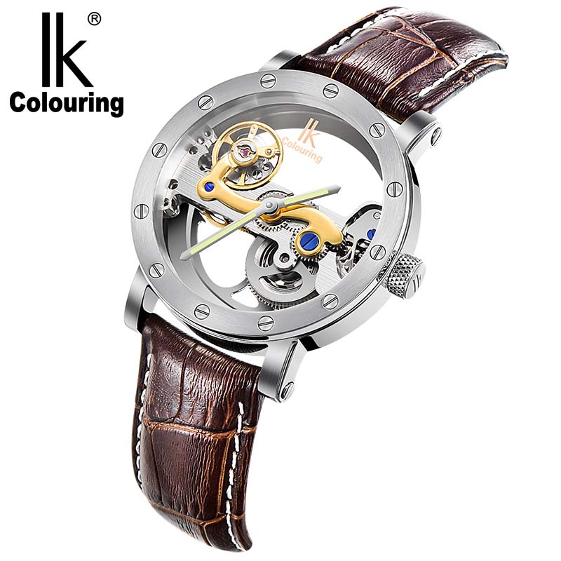 Luxury IK Coloring Wristwatches Transparent Men Luminous Hands Auto Mechanical 5 ATM Waterproof Watch with Box Free Ship ik colouring men s orologio uomo allochroic glass skeleton auto mechanical watch wristwatches gift box free ship
