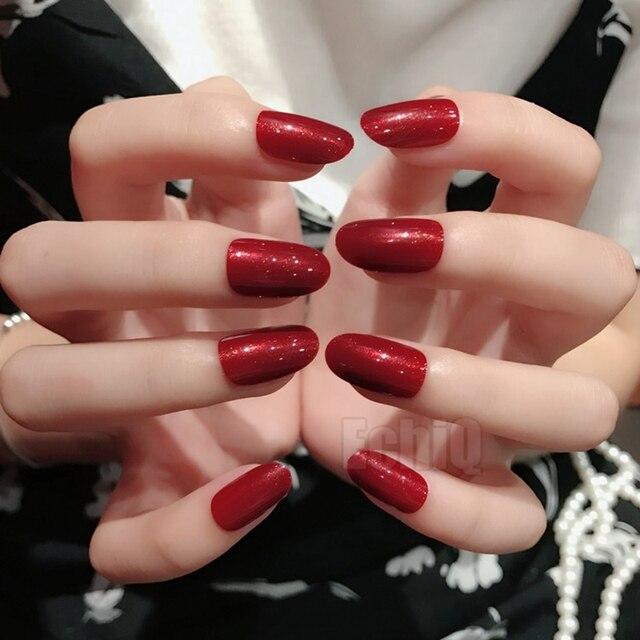 Sparkly Dark Red Fake Nails Medium Lady Daily Wear Press On Nail