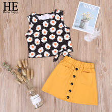 HE Hello Enjoy Summer Baby Girls Clothing Set Sleeveless Print Sunflower Vest+Skirt 2pcs Outfit Childrens 2 3 4 5 6T