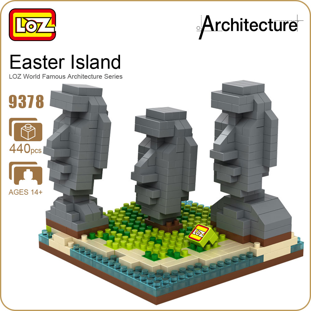 LOZ Diamond Blocks Easter Island Statue Famous Architecture Chile Building Blocks Assembly Model Educational Toys Fashion 9378 loz building blocks educational toys kids merlion park statue singapore fountain mini street view architecture toys brick 1020