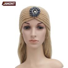 [JAMONT] Women Headband With Crown Turban Knitted Head Wrap Hairband Headwear Hair Band Accessories Lady Ear Warmer Q3332